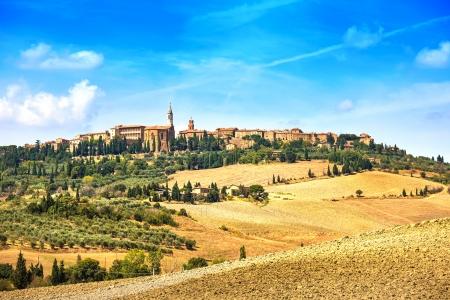 Tuscany, Pienza italian medieval village  Siena, Val d Orcia, Italy  스톡 콘텐츠