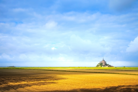 Mont Saint Michel monastery landmark and field  Unesco heritage site  Normandy, France, Europe  photo