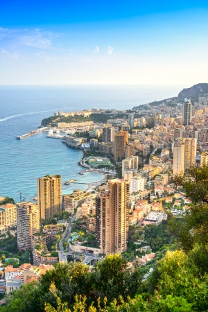 Monaco Montecarlo cityscape, principality aerial view  Skyscrapers, mountains and marina  Azure coast  France, Europe  photo