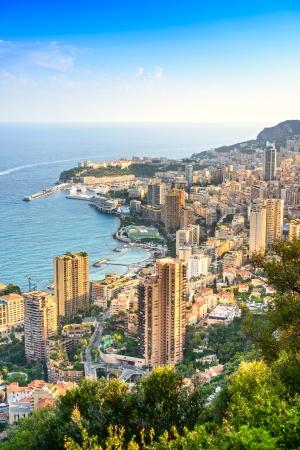 carlo: Monaco Montecarlo cityscape, principality aerial view  Skyscrapers, mountains and marina  Azure coast  France, Europe