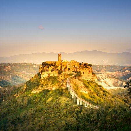 Civita di Bagnoregio ghost town landmark, aerial panoramic view on sunset  Lazio, Italy, Europe  photo