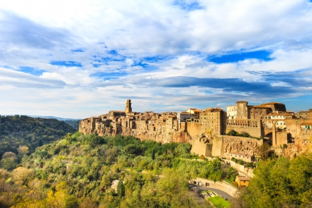 Tuscany, Pitigliano medieval village on tuff rocky hill  Panorama landscape high resolution photography  Italy, Europe
