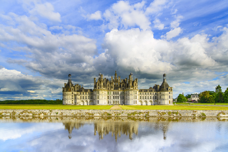 chambord: Chateau de Chambord, royal medieval french castle and reflection  Loire Valley, France, Europe