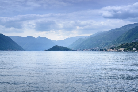 lake como: water and mountains view from Bellagio  Italy, Europe  Stock Photo