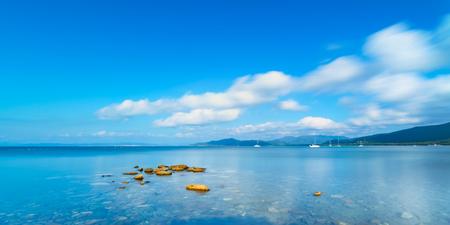 seafront: Rocks in a panoramic sea bay Punta Ala, Tuscany, Italy