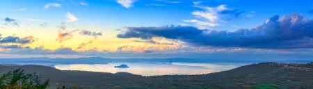 Bolsena lake aerial panoramic view from Montefiascone, Lazio, Italy