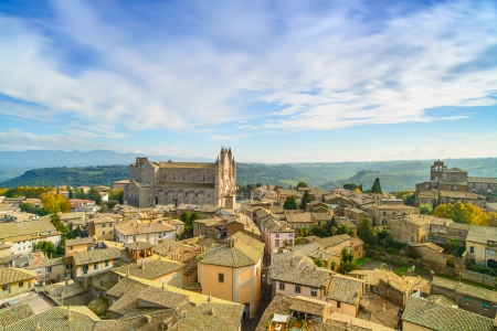 orvieto: Orvieto medieval town and Duomo cathedral church landmark panoramic aerial view  Umbria, Italy, Europe