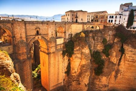 nuevo: Puente Nuevo or New Bridge historic landmark and el tajo gorge in Ronda, Andalusia, Spain