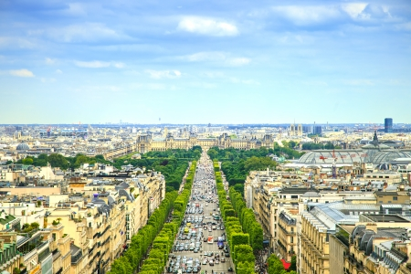 champs elysees quarter: panoramic aerial view of Champs Elysees boulevard in France, Europe