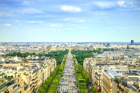 elysees: panoramic aerial view of Champs Elysees boulevard in France, Europe