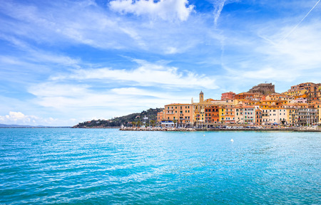 Porto Santo Stefano harbor seafront and village skyline , italian travel destination  Monte Argentario, Tuscany, Italy