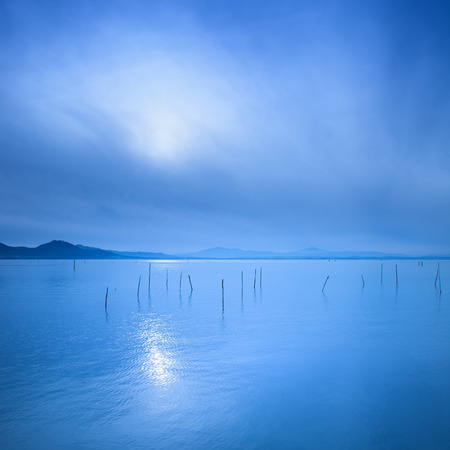 the long lake: Water surface and poles in a blue morning on the Trasimeno lake, Umbria Italy  Hills on background