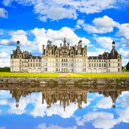 Chateau de Chambord, royal medieval french castle and reflection  Loire Valley, France, Europe  Unesco heritage site