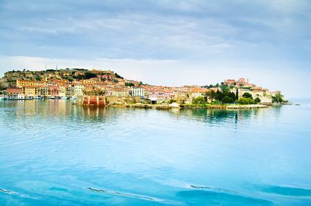 Elba island, Portoferraio village harbor and skyline from a ferry boat  Tuscany, Italy