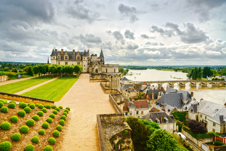 real renaissance: Amboise medieval castle or chateau and bridge on Loire river  France, Europe  Unesco site  Editorial