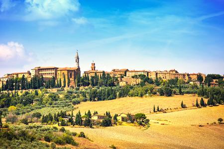 italian village: Tuscany, Pienza italian medieval village  Siena, Val d Orcia, Italy  Stock Photo