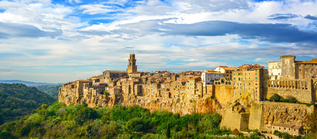 rural skyline: Tuscany, Pitigliano medieval village on tuff rocky hill  Panorama landscape high resolution photography  Italy, Europe
