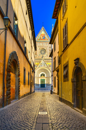 orvieto: Orvieto medieval Duomo cathedral church landmark facade view from a street  Umbria, Italy, Europe