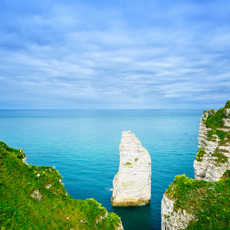 Etretat Aval cliff rock landmark and blue ocean  Aerial view  Normandy, France, Europe  photo