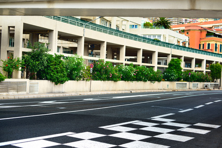 Starting grid and pit lane asphalt on Monaco Montecarlo race Grand Prix street circuit Stock Photo