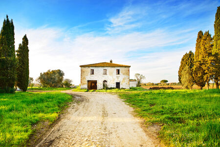 Old abandoned rural house, road and trees on sunset in spring Tuscany, Italy photo