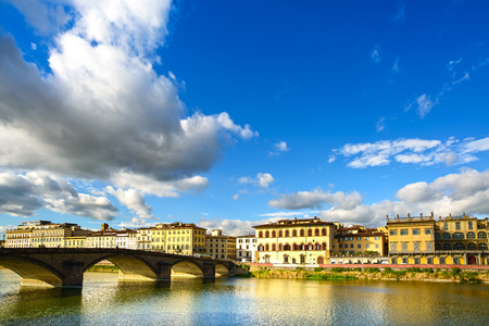 trinita: Florence, Ponte alla Carraia medieval Bridge landmark on Arno river, sunset landscape with reflection  It is the second oldest bridge, built in 1218, in the city  Tuscany, Italy