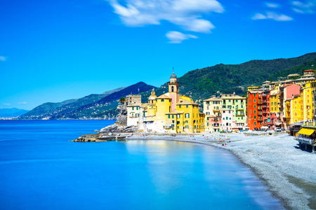 Camogli old church on sea and beach view  Liguria, Italy  Long Exposure