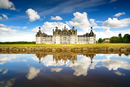 chambord: Chateau de Chambord, royal medieval french castle and reflection  Loire Valley, France, Europe  Unesco heritage site