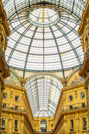Milan, Vittorio Emanuele II urban gallery, architecture connecting Duomo Place with historical Scala Theater  Also known as Milano Drawing Room  Italy, Europe