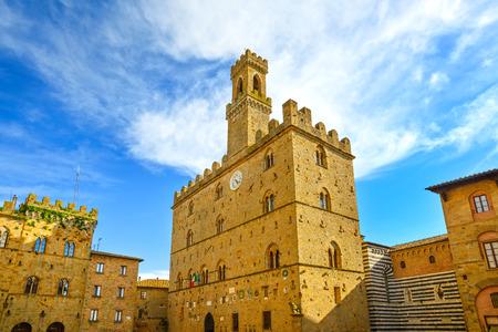 Volterra town, medieval palace Palazzo Dei Priori landmark, Pisa state, Tuscany, Italy photo