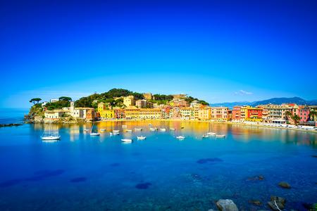 marina bay sand: Sestri Levante silence bay or Baia del Silenzio sea harbor and beach view on morning  Liguria, Italy  Long Exposure Stock Photo