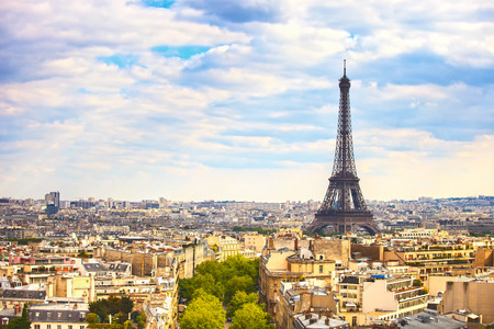 triomphe: Eiffel Tower landmark, view from Arc de Triomphe  Paris cityscape  France, Europe