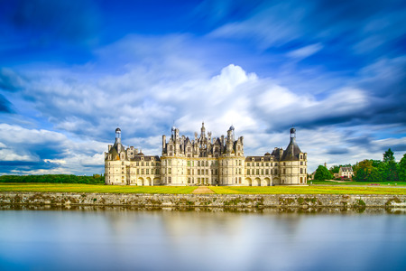 monument valley: Chateau de Chambord, royal medieval french castle and reflection. Loire Valley, France, Europe. Unesco heritage site.