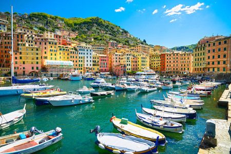 Camogli marina harbor, boats and typical colorful houses. Travel destination Ligury, Italy, Europe. photo
