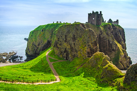 Dunnottar scottisch medieval fortress or castle. Highlands of Scotland, Uk, Europe. Stock Photo