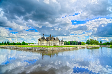 chambord: Chateau de Chambord, royal medieval french castle and reflection. Loire Valley, France, Europe. Unesco heritage site.