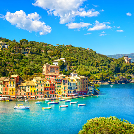 Portofino luxury landmark aerial panoramic view. Village and yacht in little bay harbor. Liguria, Italy Banco de Imagens