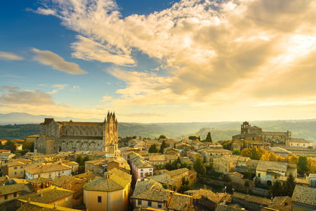 Orvieto medieval town and Duomo cathedral church landmark panoramic aerial view. Umbria, Italy, Europe.