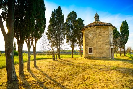 poem: San Guido Oratorio small church and cypress trees. Famous location of Carducci poem. Maremma, Tuscany, Italy, Europe Stock Photo