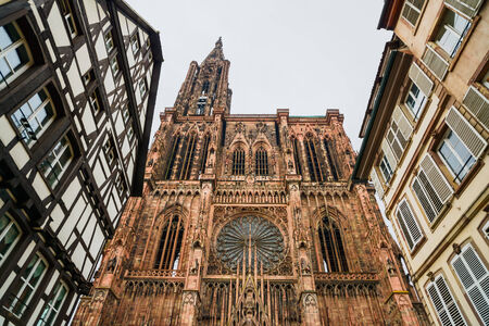 Strasbourg, Cathedral Notre Dame view. Alsace, France, Europe.
