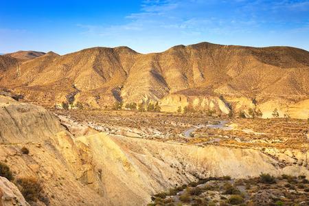 sergio: Tabernas desert, in spanish Desierto de Tabernas. Europe only desert. Almeria, andalusia region, Spain. Protected wilderness area and location for spaghetti western movies. Stock Photo