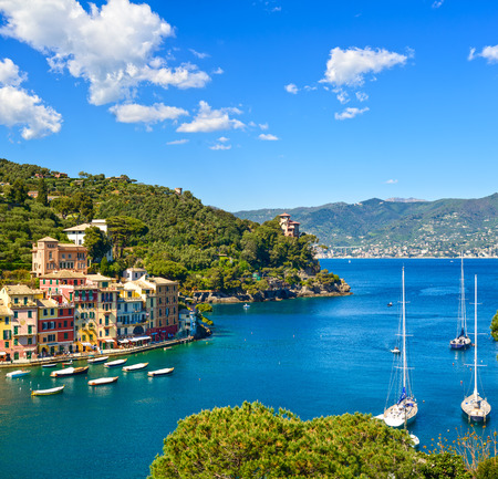 Portofino luxury landmark aerial panoramic view. Village and yacht in little bay harbor. Liguria, Italy Standard-Bild