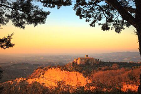 tuscan house: Tuscany, Volterra Le Balze rural sunset landscape.Italy, Europe.