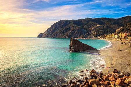 monterosso: Monterosso beach, sea bay and rocks landscape. Five lands, 5 terre, Ligury Italy