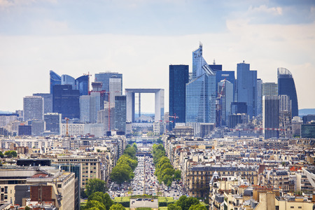 france: La Defense business area, La Grande Armee avenue. View from Arc de Triomphe. Paris, France, Europe.