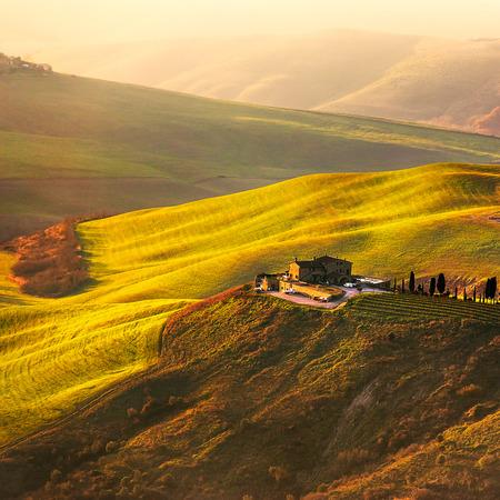 volterra: Tuscany, Volterra Le Balze rural sunset landscape.Italy, Europe.