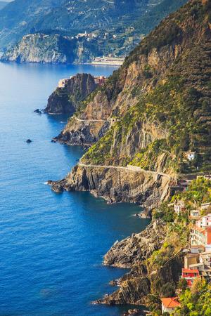 cinque terre: Via dell Amore aerial view, The Way of Love, linking Manarola and Riomaggiore. Cinque Terre National Park, Liguria Italy Europe.