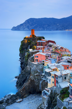 cinque: Vernazza village, aerial view on sunset, Seascape in Five lands, Cinque Terre National Park, Liguria Italy Europe. Long Exposure.