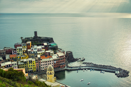 Vernazza village, aerial view on sunset, Seascape in Five lands, Cinque Terre National Park, Liguria Italy Europe. Long Exposure. photo
