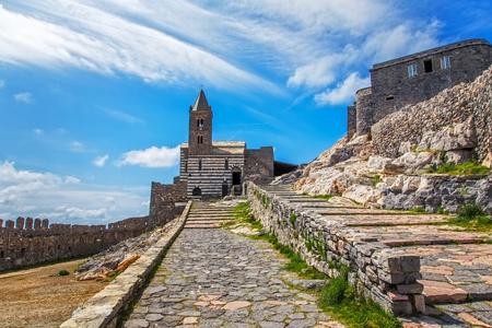 pietro: Portovenere San Pietro Church. Five lands Cinque Terre Liguria Italy Europe. Stock Photo